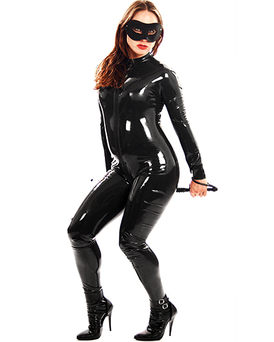Rubber Catsuit with Front Zip - Optional Breast Zippers