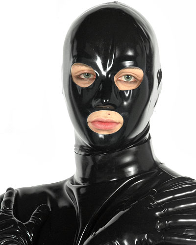 Anatomical Male Latex Hood with Mouth, Eyes and Nose Openings