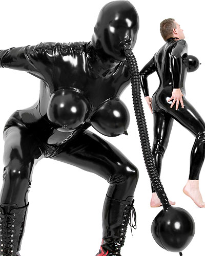 Glued Latex TV Catsuit with Inflatable Boobs