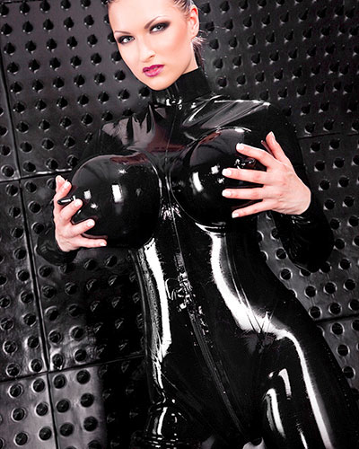 Inflatable Torpedo Tits Glued Latex Catsuit for Ladies