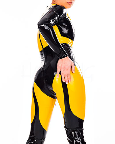 Glued Latex Illusion Catsuit with 2 Way Zipper