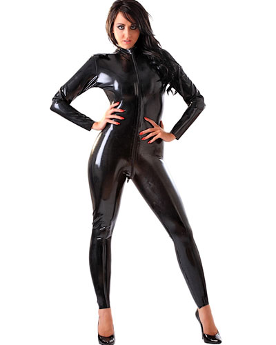 Glued Latex Catsuit with 2 Way Front Zipper Through Crotch