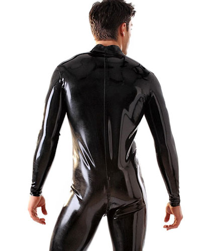 Glued Black Latex Catsuit with 2 Way Zipper