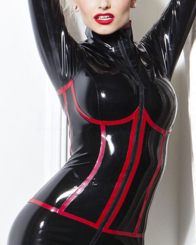 Glued Latex Long Sleeved Catsuit in Black with Red