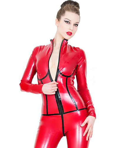 Glued Latex Long Sleeved Catsuit in Red with Black
