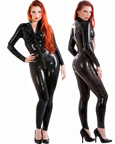 Glued Black Latex Catsuit with 2 Way Front Zipper Through Crotch