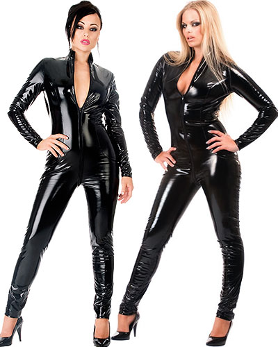 Black Gloss PVC Catsuit with 2 Way Zipper - up to 6XL