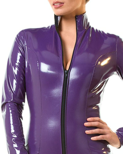 Purple Gloss PVC Catsuit with 2-Way Zipper - up to 6XL