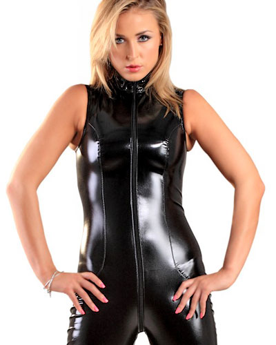 Sleeveless Black Gloss PVC Catsuit with 2 Way Zipper