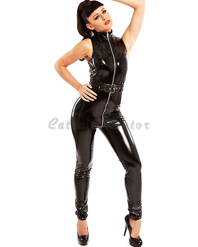 Black Gloss PVC Belted Diva Catsuit