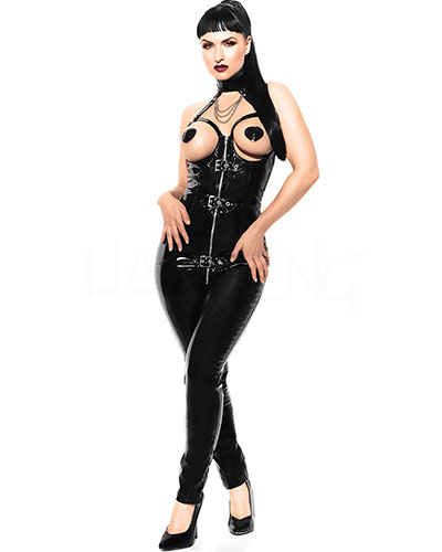 Gloss PVC Open Bust Black Catsuit