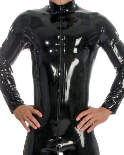 Glued Black Latex Catsuit with Feet and 2-Way Zipper