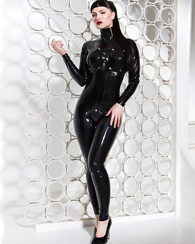 Latex Fetish Catsuit with Detachable Breast and Crotch Flaps