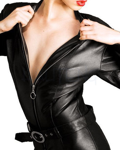 Leather Belted Biker Bitch Catsuit