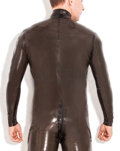 Glued Smokeytransparent Latex Catsuit with 2 Way Zipper