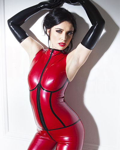 Glued Latex Sleeveless Catsuit in Red with Black