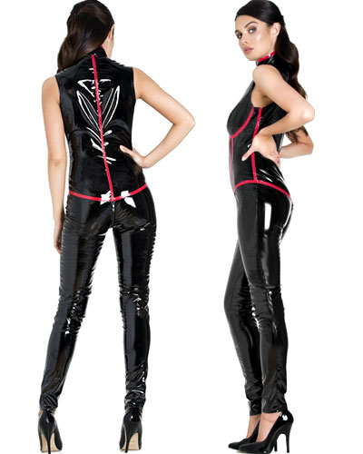 Subservient Sleeveless Gloss PVC Catsuitt with 2-Way Zipper