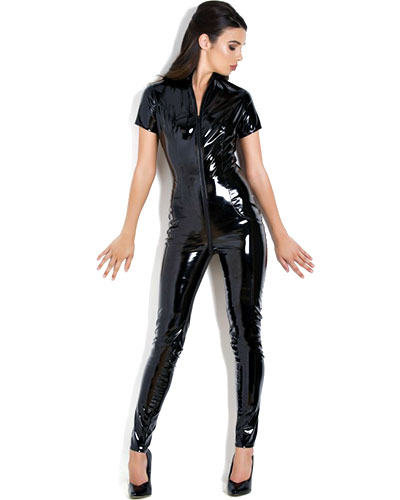 Libertine Short-Sleeved Gloss PVC Catsuit with 2-Way Zipper