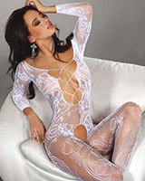 Crotchless White Floral Lace Catsuit