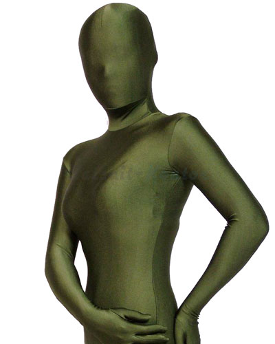 Olive Green Shiny Zenshin Tights Suit