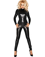 Wet Look Catsuit with 2 Way Zipper - Size 6XL