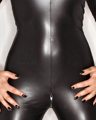 Wet Look Catsuit with 2 Way Zipper
