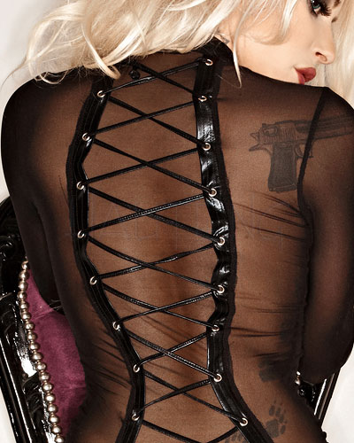 Mesh Catsuit with Wet Look Details - up to Size 10XL