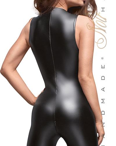 Sleeveless Powerwetlook and Lace Catsuit