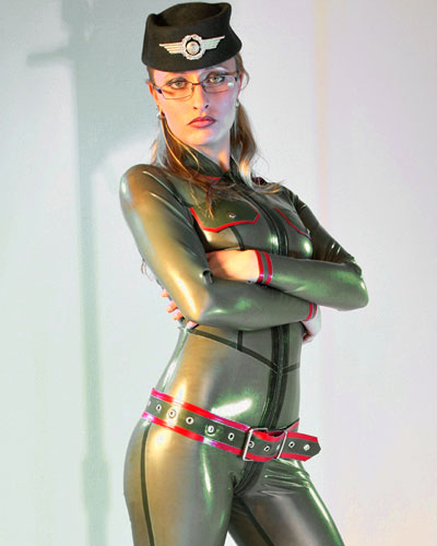 Catsuit aus geklebtem Latex im Military Look