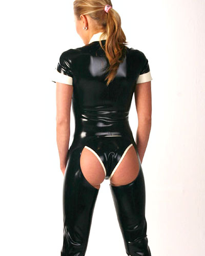 Glued Latex Chaps Style Catsuit - 0.6 mm