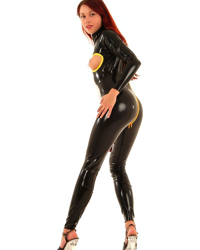 Glued Latex Catsuit with Open Boobs - Made to Measure Available