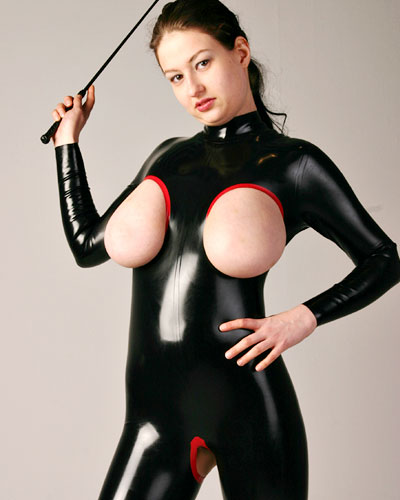 Black Latex Catsuit with Open Boobs and Crotch - 0.6 mm