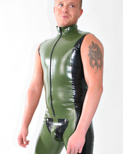 Glued Two Colour Latex Sleeveless Suit with Codpiece and Options