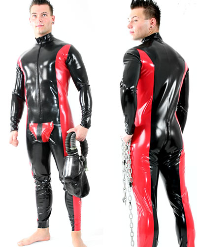 Glued two colour Latex Fullsuit with Codpiece and Options