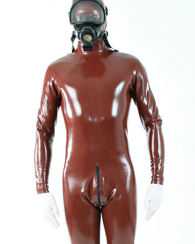 Men\'s Glued Latex Fullsuit with 2 Way Crotch Zipper and Options