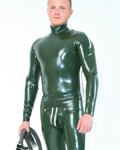 Glued Latex Fullsuit with Codpiece , Shoulder Zips and Options