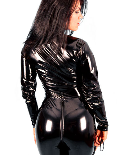 Vinyl Stretch Catsuit with 2 Way Zipper