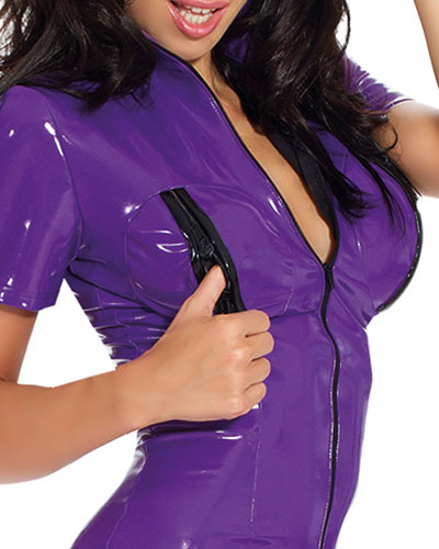 Datex Catsuit with Breast Zippers and Short Sleeves