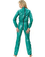 PVC Body Hugging Overall with 2 Way Zipper Through Crotch