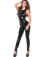 Sleeveless Wet Look and Mesh Catsuit
