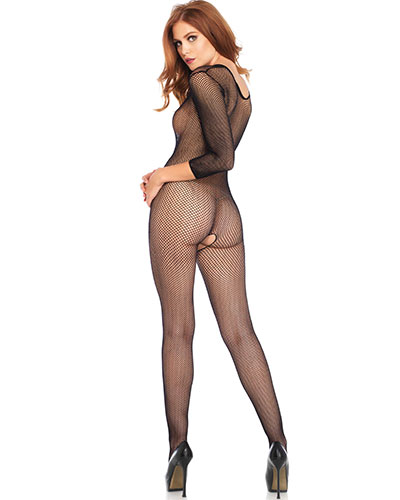 Black Fishnet Bodystocking with V Front