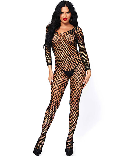 Black Ringo Net Catsuit with Open Crotch