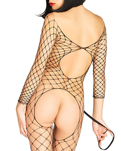 Fence Net Open Cups Catsuit with Collar and Leash