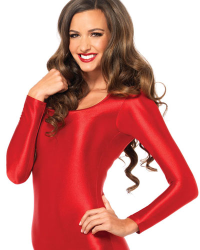 Roter Stretch-Catsuit