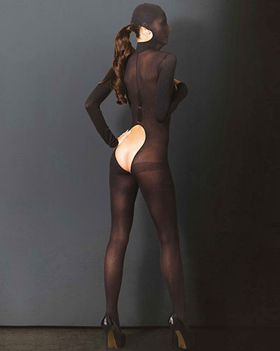 Opaque Black Hooded Catsuit with Open Breast and Open Crotch