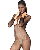 Black Hooded Fishnet Catsuit with Open Breast and Open Crotch