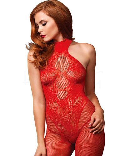 Seamless Halter Bodystocking with Open Crotch