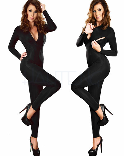Stretch Catsuit with Breast Zippers and Crotch Zipper