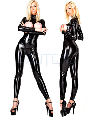 Open Breast Glued Latex Catsuit for Ladies with 3 Way Zipper