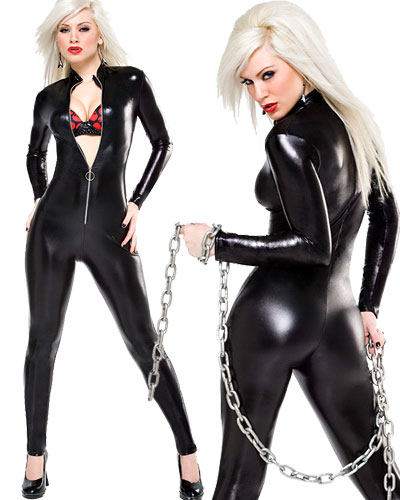 Wet Look Catsuit with Metal Zipper